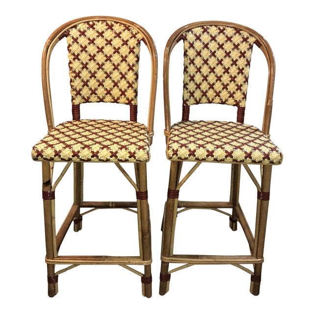 Wicker Maison Drucker French Bistro Bar Stools - A Pair For Sale - Image 7 of 8