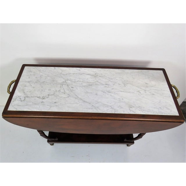 Directoire Style Marble Top Mahogany Drop Leaf Server Table - Image 3 of 8