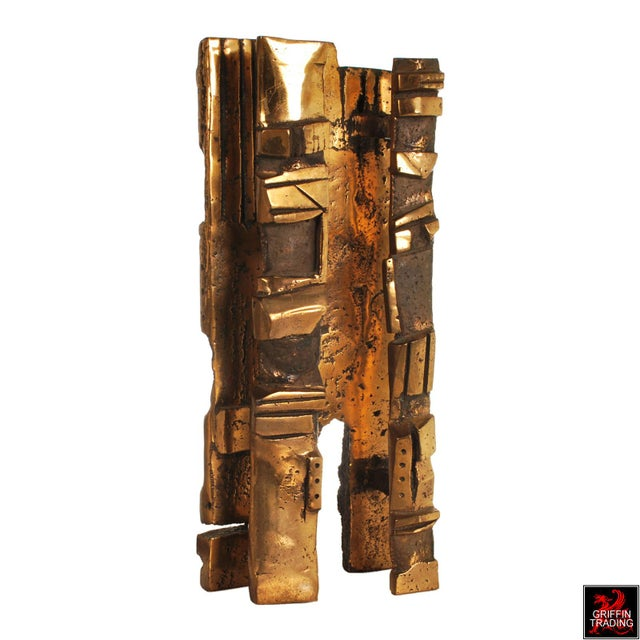 Bronze Brutalist Abstract Sculpture For Sale - Image 4 of 13