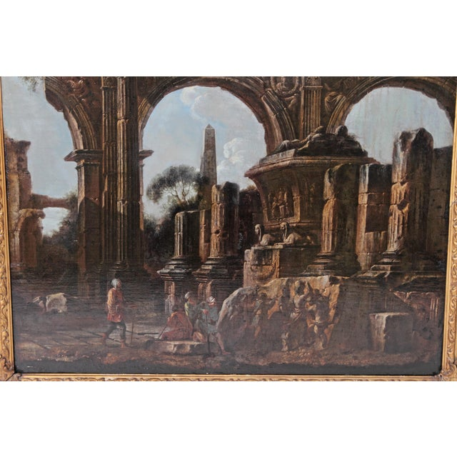 Baroque Painting / Classical Ruins Attributed to Giovanni Ghisolfi (1623-1683) For Sale - Image 11 of 13