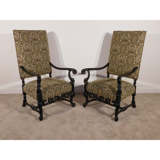 Maitland Smith William & Mary Ebony W Gold Gilt Accents Fireside Arm Chairs - a Pair For Sale - Image 13 of 13