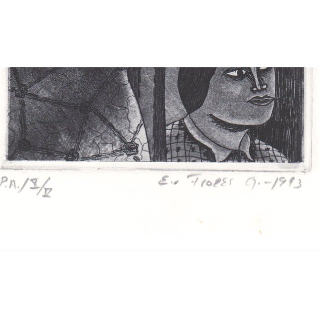 Figurative 1993 Modern Portrait Aquatint With Flying Bicycles For Sale - Image 3 of 6
