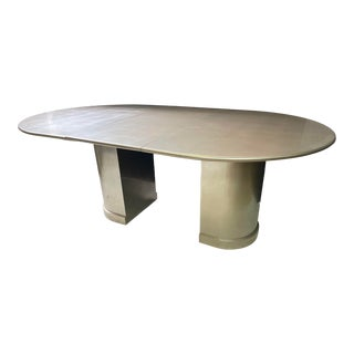 Silver Leaf Dining Table in the Style of Karl Springer For Sale