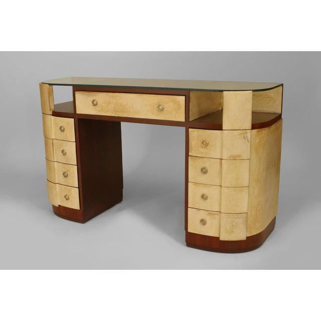 "Mid 20th Century French Art Deco Mahogany And Parchment Veneered ""D"" Shaped Dressing Table For Sale - Image 5 of 5"