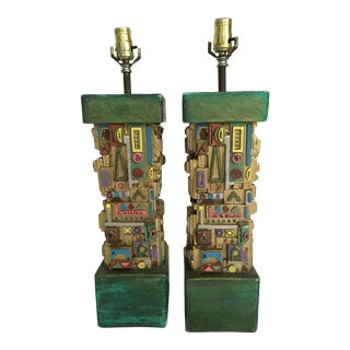 Vintage Mid-Century Maximalist Plaster Lamps - A Pair For Sale