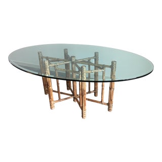 Vintage Boho Chic McGuire Organic Bamboo + Oval Glass Dining Table For Sale