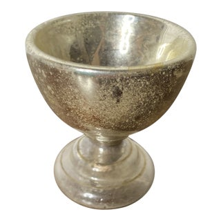 Antique Mercury Glass Small Footed Bowl or Master Salt. For Sale