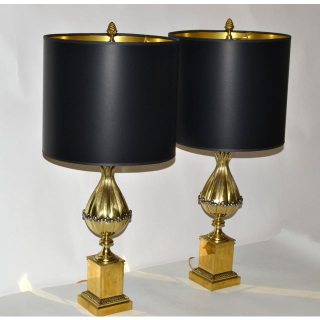 Maison Charles Maison Charles French Art Deco Lotus Bronze Table Lamp Black & Gold Shade - Pair For Sale - Image 4 of 13