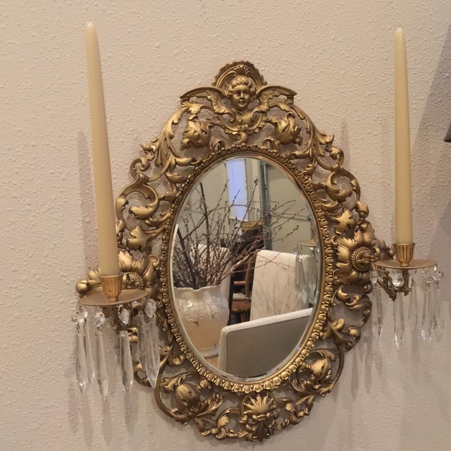 Antique Gold Mirror With Crystal Candles - Image 3 of 10
