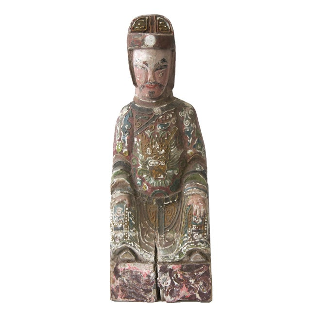 Late Qing Dynasty Carved Wooden Ancestor Sculpture - Image 1 of 2