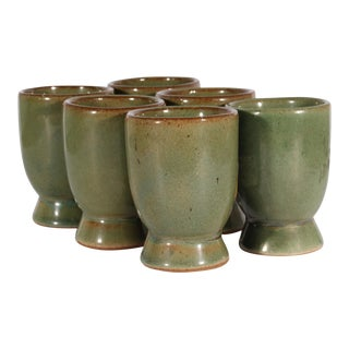 Mid-Century Martz Marshall Studios Set of Green Small Wine Cups For Sale
