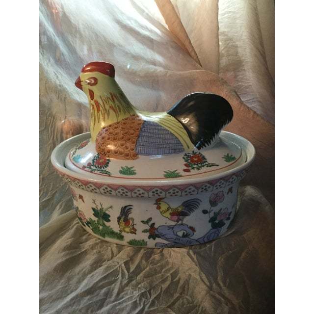 Traditional Vintage Hand Painted Country French Rooster Container For Sale - Image 3 of 9