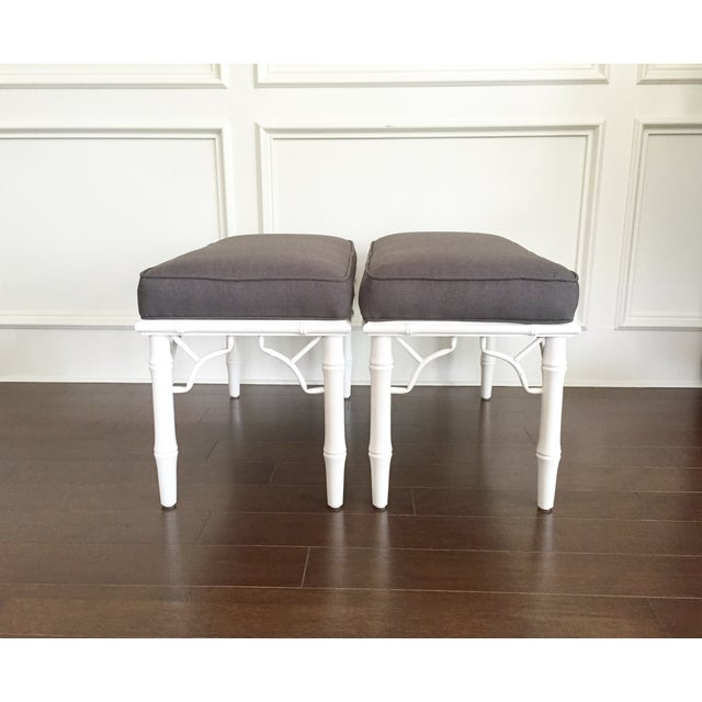 Vintage Faux Bamboo Upholstered Bench - Image 7 of 9
