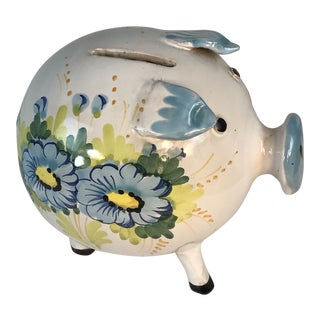 1964 Vintage Italian Hand Painted Piggy Bank For Sale