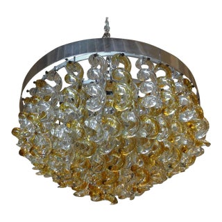 1960's Murano Glass Chandelier by Mazzega For Sale