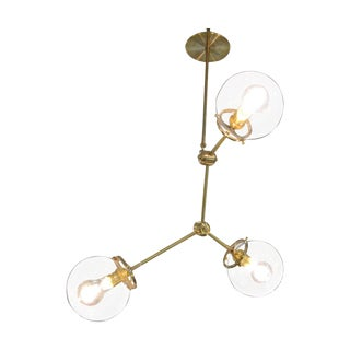 Custom Brass Three Globe Chandelier