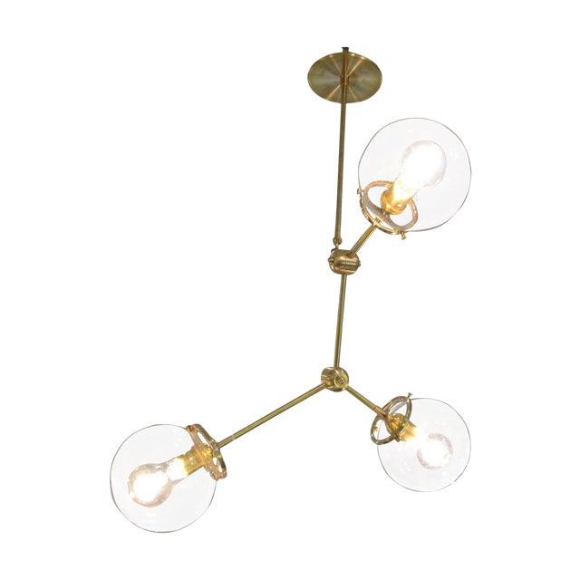 Custom Brass Three Globe Chandelier For Sale