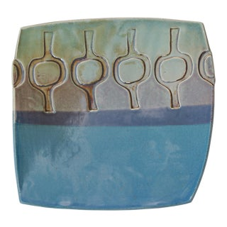 Footed Modernist Pottery Dish For Sale