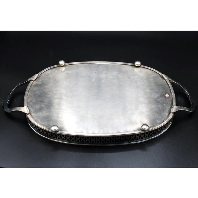 Metal Art Deco English Silver Plate Handled Tray With Gallery For Sale - Image 7 of 13