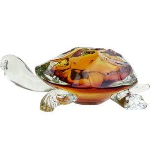 Barbini Murano Oggetti Golden Amber Sommerso Italian Art Glass Turtle Sculpture For Sale