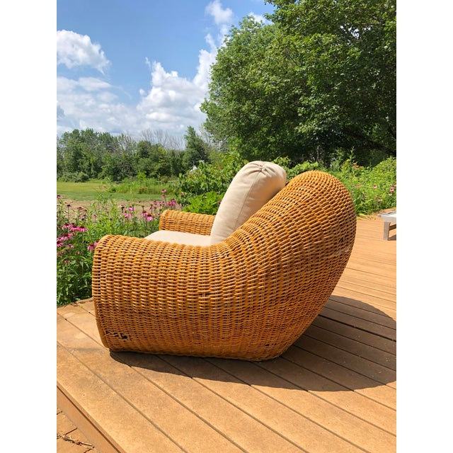 Arthur Umanoff Vintage Wicker Orb Chair For Sale - Image 4 of 13