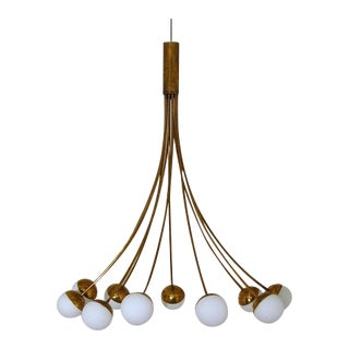 Brass Mid-Century Italian Chandelier For Sale