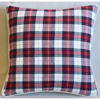 "Red, Black & White Tartan Plaid Feather/Down Pillow 21"" Square Preview"
