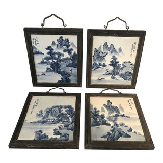 Early 20th Century Chinese, Blue and White Porcelain, Wood Framed Plaques - Set of 4 For Sale