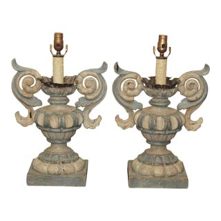 Pair of Italian Wood Carved Lamps For Sale