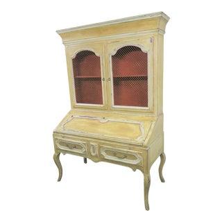 Large Louis XV Style Paint Distresed Secretary Desk For Sale