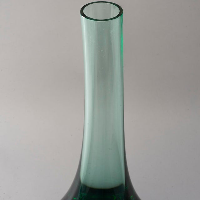 Green Tall Murano Sommerso Glass Perfume Bottle For Sale - Image 8 of 13