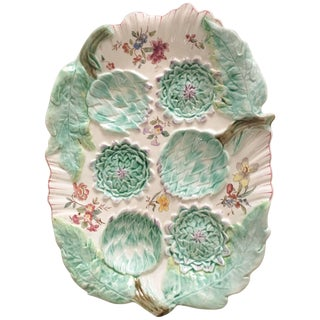 19th Century Majolica Longchamp Signed Artichoke Platter For Sale