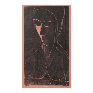 Abstracted Figure in Pink 1969 Woodcut For Sale