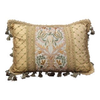 19 C. Italian Chair Cushion With Antique Fabric For Sale