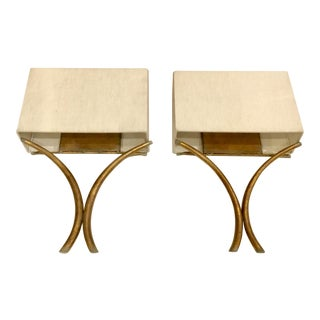 Currey & Co. Transitional Antique Gold and Linen Style Sconces Pair For Sale
