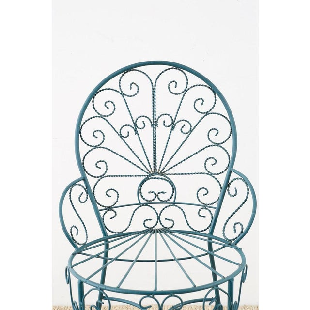 Salterini Pair of Salterini Style Iron Garden Patio Chairs For Sale - Image 4 of 13