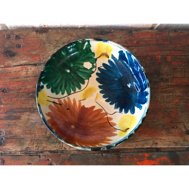 Boho Chic Vintage Mexican Pottery Decorative Bowl For Sale - Image 3 of 11