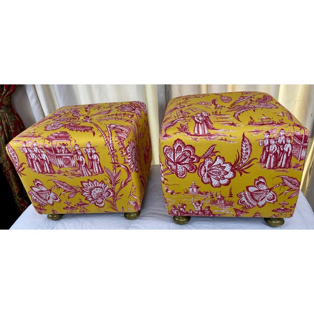 Mid-Century Modern Late 20th Century Vintage Chinoiserie Pouf Footstools with Brass Feat - a Pair For Sale - Image 3 of 10