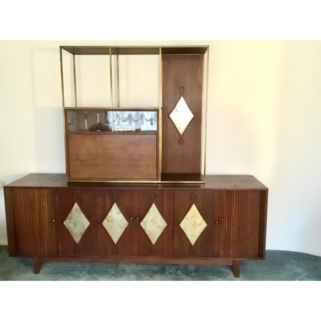 1960s Mid-Century Living Room Credenza With Bar For Sale - Image 4 of 4