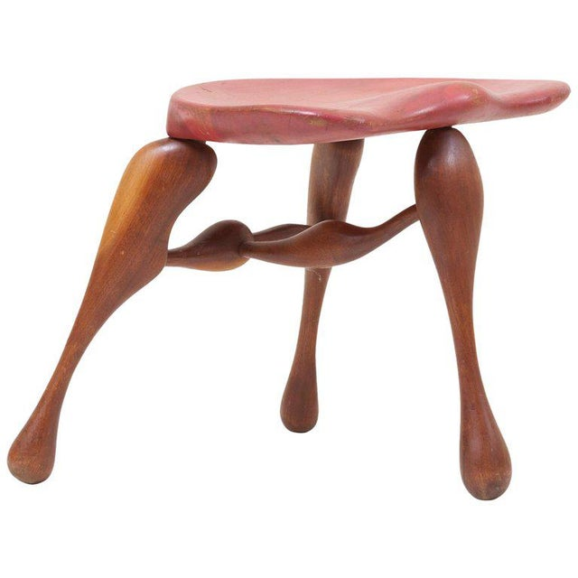 Brown Studio Craft Wooden Stool by Ron Curtis, Us, 1950s For Sale - Image 8 of 8