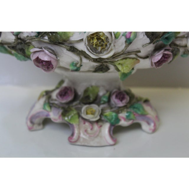 Early 20th Century Early 20th Century Floral Pottery Footed Boat For Sale - Image 5 of 7