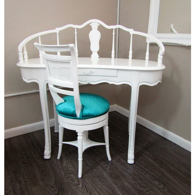 Hollywood Regency Kidney Shaped Vanity/Writing Desk With Upholstered Swivel Chair For Sale - Image 9 of 9