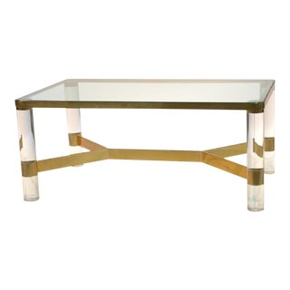 Karl Springer Lucite Coffee Table, Signed For Sale