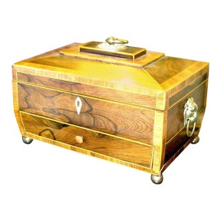 Regency Rosewood Tea Caddy With Drawer For Sale