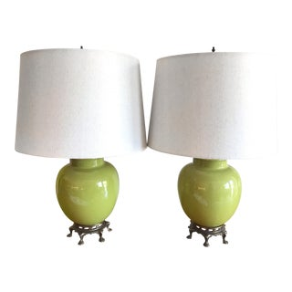 Pair of Chartreuse Green Lamps With Brass Feet For Sale