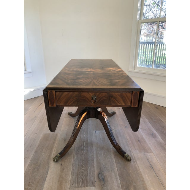 American 20th Century American Classical Drop-Leaf Library Table For Sale - Image 3 of 10