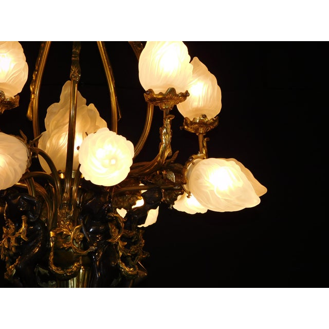 Antique Bronze Maidens Flame Globe Chandelier For Sale - Image 4 of 13
