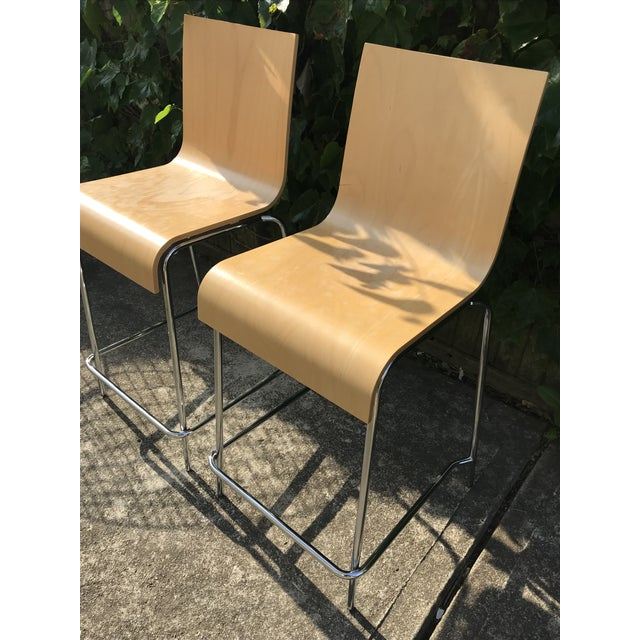 2010s Modern Wooden Stools - a Pair For Sale - Image 5 of 7