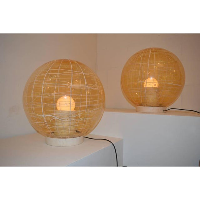 Pair of Large Murano Floor Lamps by La Murina on a Travertine Base - Image 2 of 10