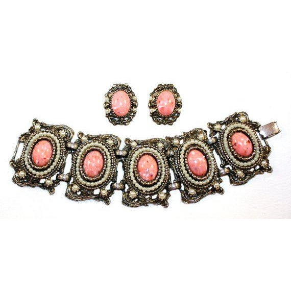 Art Nouveau 1950s Faux-Coral & Pearl Bracelet and Earring Set For Sale - Image 3 of 3